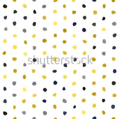 Adesivo Teste padrão sem emenda das bolinhas da mostarda dos azuis marinhos do cinza amarelo no fundo branco. Textura de pedra de polígono redondo. Vetor abstrato para impressões, têxteis, embrulho, tecido, p