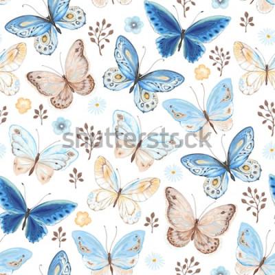 Adesivo Teste padrão sem emenda de borboletas do voo azuis, cores amarelas e marrons. Ilustração do vetor no estilo do vintage no fundo branco.