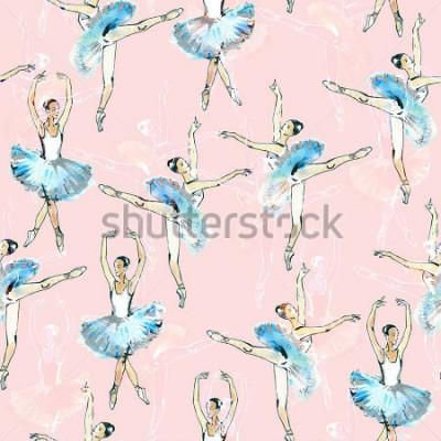 Adesivo Teste padrão sem emenda do desenho de bailado, do preto, o branco e o branco, pintura da aguarela, no fundo cor-de-rosa.