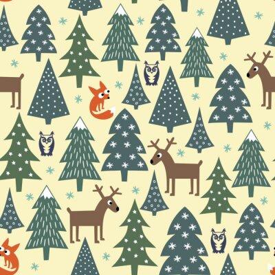 Adesivo Teste padrão sem emenda do Natal - árvores variadas do Xmas, casas, raposas, corujas e deers. Fundo do ano novo feliz. Vector o projeto para feriados de inverno.