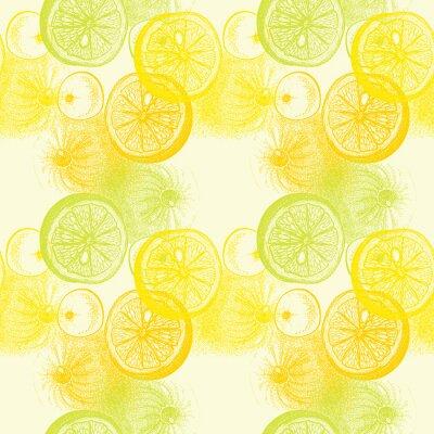 Adesivo Teste padrão sem emenda do papel de parede com as laranjas desenhadas mão citrino. Drawi
