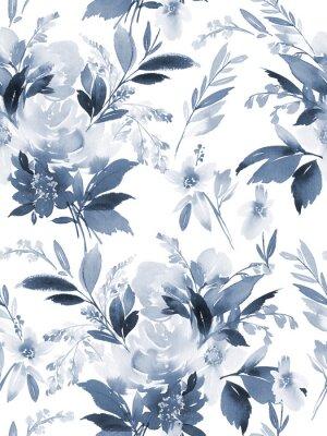 Adesivo Teste padrão sem emenda do verão com as flores da aguarela feitos a mão.