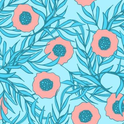 Adesivo Teste padrão sem emenda do vetor da flor da papoila. Cópia floral tirada mão da tela de matéria têxtil da tinta do doodle. As papoilas vermelhas coral eo ramo azul saem do projeto natural.