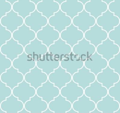 Adesivo Teste padrão sem emenda geométrico de Quatrefoil, fundo, ilustração do vetor na hortelã azul, na cor macia de turquesa e no branco.