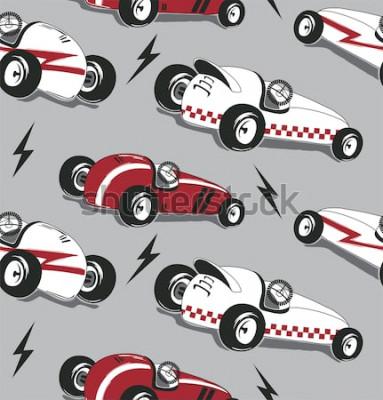Adesivo Teste padrão sem emenda, gráfico do t-shirt da tipografia dos carros de corridas do vintage isolado no vetor cinzento da ilustração do fundo.