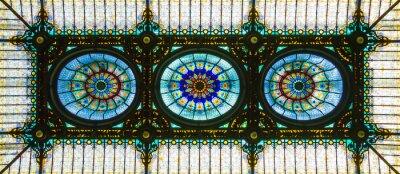 Adesivo Teto de vidro manchado colorido no estilo floral art nouveau