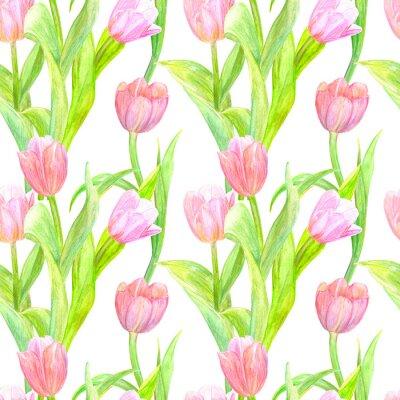 Adesivo Textura sem emenda com tulipas elegantes para seu projeto. Pintura da aguarela