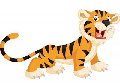 Adesivo Tigre bonito dos desenhos animados que ruge