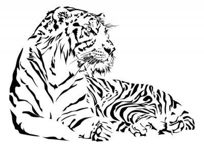 Adesivo Tigre preto e branco