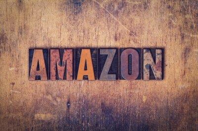 Adesivo Tipo de Letterpress de madeira do conceito de Amazon