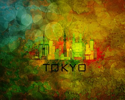 Adesivo Tokyo, cidade, Skyline, grunge, fundo, Ilustração