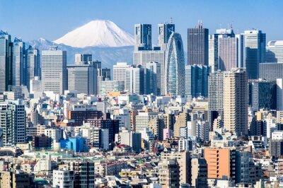 Adesivo Tokyo im Winter mit Fujiyama im Hintergrund