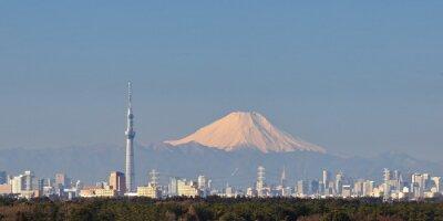 Adesivo Tóquio visão da cidade com Tokyo Sky Tree e Montanha Fuji