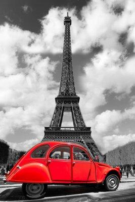 Adesivo Torre Eiffel com o carro velho vermelho em Paris, França