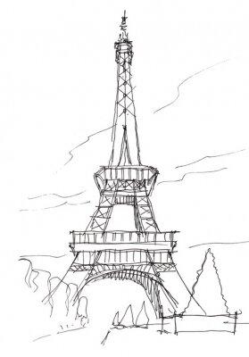 Adesivo Torre Eiffel mão do doodle do esboço da pena