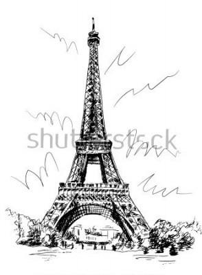 Adesivo Torre Eiffel, tirada pela pena e seguindo, traçando a imagem, desenhando à mão, Paris, França.