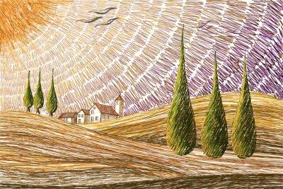 Adesivo Toscana paisagem - conceito de pintura digital