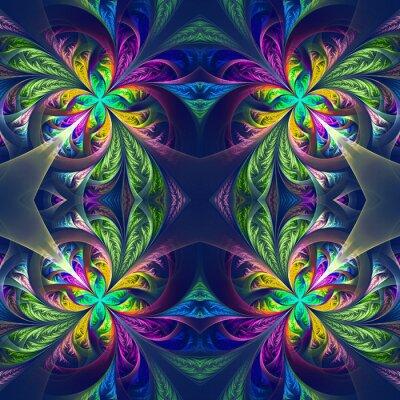 Adesivo Tracery fractal simétrico multicolorido. Coleção - patt gelado