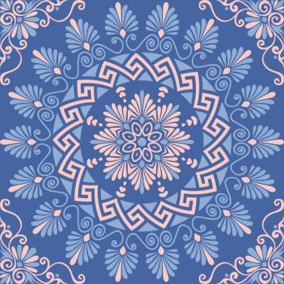 Adesivo Tradicional, seamless, vindima, Cor-de-rosa, branca, azul, redondo, floral, Grego, Ornamento