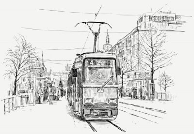 Adesivo tramway em uma cidade grande