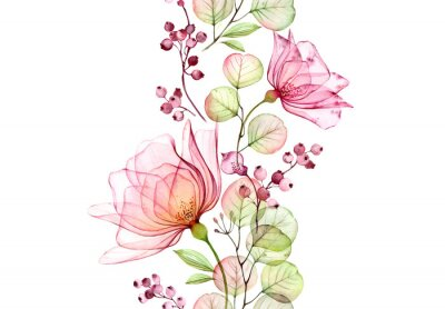 Adesivo Transparent watercolor rose. Seamless vertical border. Isolated hand drawn arrangement with big flowers, eucalyptus and berries for wedding design, stationery card print