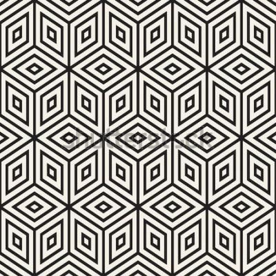 Adesivo Treliça de linha monocromática na moda. Projeto geométrico abstrato do fundo. Vector sem costura preto e branco padrão.