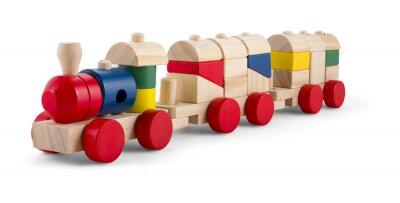 Adesivo Trem de brinquedo de madeira com blocos coloridos isolados sobre o branco