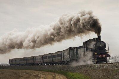 Adesivo Trem vapor preto vintage