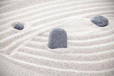 Adesivo Três, pedras, areia, zen, conceito