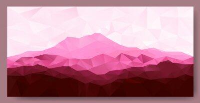 Adesivo Triângulo baixo poli poly fundo geométrico com montanha-de-rosa