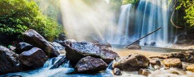 Adesivo Tropicais, cachoeira, selva, sol, raios