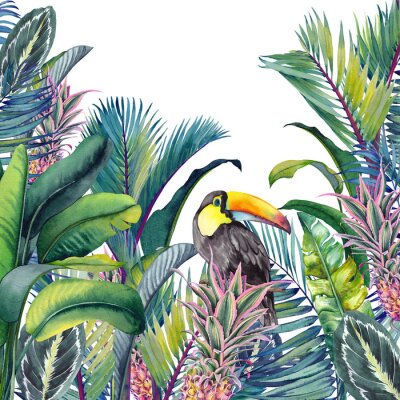 Adesivo Tropical card with Toucan, palm trees, pineapples, banana and calathea leaves. Watercolor illustration on white background.