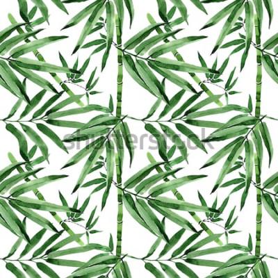 Adesivo Tropical deixa o padrão de árvore de bambu em estilo aquarela. Aquarelle selvagem deixa para plano de fundo, textura, padrão de invólucro, moldura ou borda.