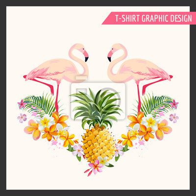 Adesivo Tropical Flowers and Flamingo Graphic Design - for t-shirt, fashion