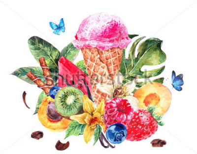 Adesivo Tropical hand painting summer watercolor natural eco food background with fruits, soft Italian fruit ice cream, summer nature exotic sale card
