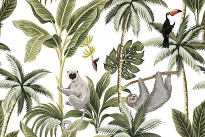 Adesivo Tropical vintage animals, toucan, palm trees, banana tree floral seamless pattern white background. Exotic jungle wallpaper.