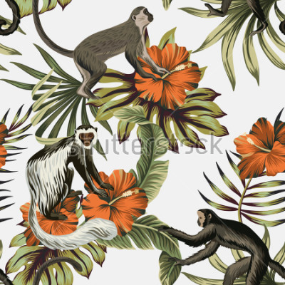 Adesivo Tropical vintage monkey, red hibiscus flower, palm leaves floral seamless pattern white background. Exotic jungle wallpaper.