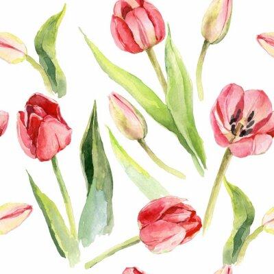 Adesivo tulipas flor aquarela padrão ilustração têxtil impressão