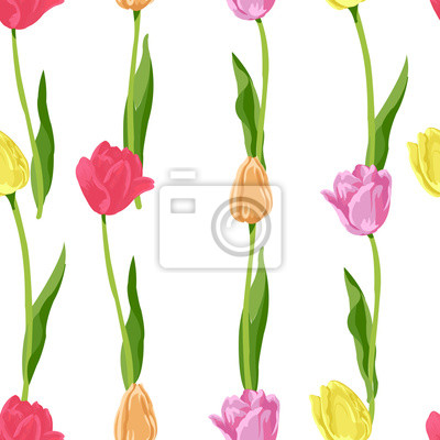 Adesivo tulipas florais pequenas sem costura de fundo
