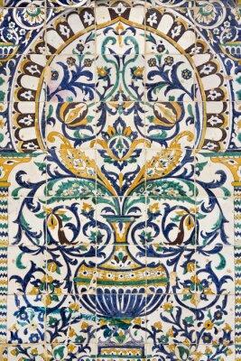 Adesivo Tunísia. Kairouan - o Zaouia de Sidi Saheb. Fragmento de painel cerâmico com motivos florais e arquitetônicos
