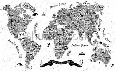 Adesivo Typography World Map. Travel  Poster with cities and sightseeing attractions. Inspirational Vector Illustration.