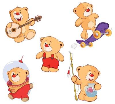 Adesivo Um conjunto de desenhos animados ursos