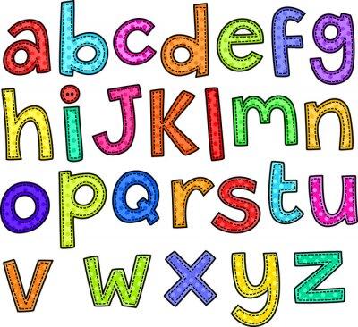 Adesivo Um doodle estilo do ponto conjunto de mão desenhada letras do alfabeto.