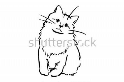 Adesivo Um gatinho sentado. Esboço de vetor preto e branco. Desenho simples no fundo branco.