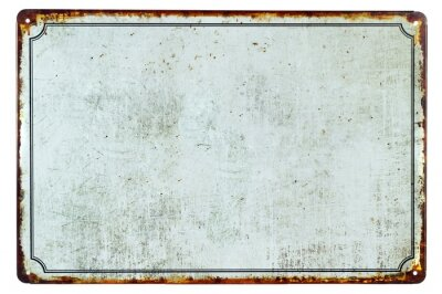 Adesivo Um sinal de metal enferrujado em branco antigo com um fundo de espaço de cópia para o seu texto
