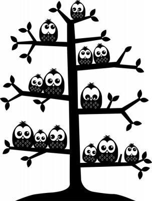 Adesivo Uma árvore cheia de corujas