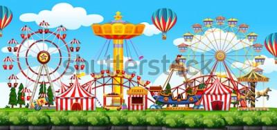 Adesivo Uma ilustração de cena de parque temático