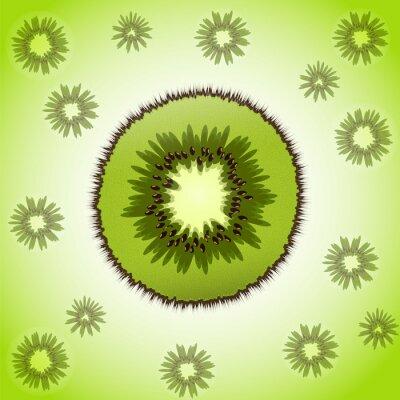 Adesivo Única parte de kiwi no fundo da fruta