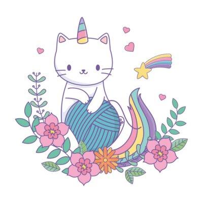 Adesivo Unicorn cat cartoon vector design