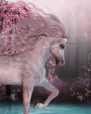 Adesivo Unicórnio da flor de cerejeira - o cavalo do unicórnio é uma criatura mythical com um chifre nele é testa e cascos fendidos e vive na floresta mágica.